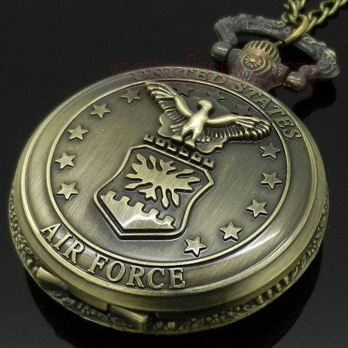 Bronze Air Force Eagle Stars Quartz Pocket Watch Necklace Pendant Mens Gift P103(China (Mainland))