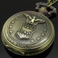 Bronze Air Force Eagle Stars Quartz Pocket Watch Necklace Pendant Mens Gift P103