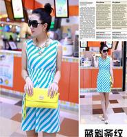 Free shipping 2014 summer clothing colorful bule women dress