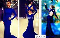 High Neck Backless Long Sleeves Mermaid Celebrity Dress Royal Blue Women Evening Dress Custom Made vestidos de fiesta