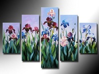 100% Hand painted The new blue flower High Q. Abstract Wall Decor Landscape Oil Painting on canvas 5pcs/set mixorde Framed
