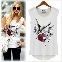 Dropshipping Summer New Ladies Sleeveless T-shirts,Printed Tops back Slit T-shirt For Women White Black InStock