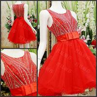 Luxury O-neck A-line Knee-length Short Crystal Bowknot Vestido Bridesmaid Prom Graduation Formal Party Dress(XNE-ED128)