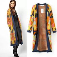 Fashion design 2014 new arrival autumn winter geometry multicolour jacquard sweater trench loose cardigan female