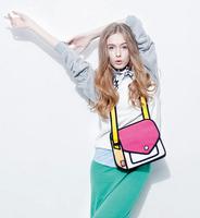 Wholesale Free Shipping 3 Colors Women Handbag 2014 Fashion Comic Nylon Bag Shoulder Cartoon 3D Women Handbags Messenger Bag