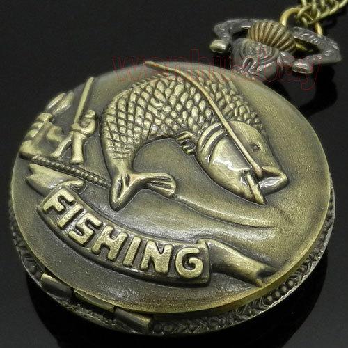 Bronze Fishing Angling Quartz Pocket Watch Necklace Pendant Mens Gift P108(China (Mainland))