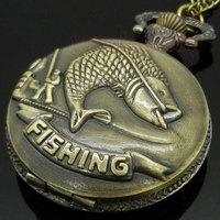 Bronze Fishing Angling Quartz Pocket Watch Necklace Pendant Mens Gift P108
