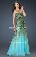 2014 Cstom Made Elegant Vestido Longo De Baile Leopard Evening Dresses Sweetheart Pleat Prom Party Dress Vestidos de Festa
