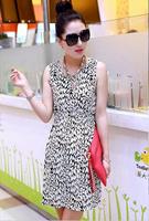 Free Shipping 2014 New Women Summer Sleeveless Dresses Chiffon Comfort Mini Dress