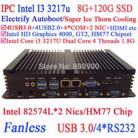 Intel Dual Core i3 24 hours IPC dual Intel 82574L Nics 4 USB3.0 4 COM 8G RAM 120G SSD WIN7 WIN8 LINUX NAS free drive 7 24 hours