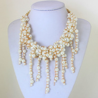 2014 Brand Designer Fake Pearl Necklaces Hot Sell Gold Chain Tassel Statement  Necklaces Fashion Chains Jewelry KK-SC627