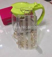 Wholesale Lastest  Brand Victoria/'s Secret PINK Perfume Bottle Metal Chain Handbag Case For Iphone5 5S Transparent TPU Covers