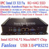 Intel Core i3 24 hours IPC with dual Intel 82574L Nics 4 USB3.0 4 COM 8G RAM 64G SSD WIN7 WIN8 LINUX NAS free drive 7 24 hours