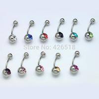 Titanium steel Double Austrian Crystal Gem Ball Belly Button Women Navel Ring 11 color