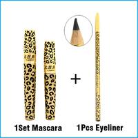 1 Set Lengthening Mascara Set Gel with Fiber + 1 Pcs Black Eye Liner Pencil for Eye Make Up Fashion Leopard Print