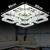 Free shipping large square design modern LED crystal ceiling light 4-lights lustres home decoration luminaria teto