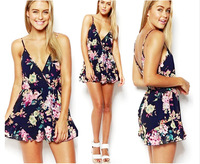 Floral Print Jumpsuit Fashion Women Shorts Camis Ruffles macacao feminino Female vestido Sexy V Summer Playsuit Backless Romper
