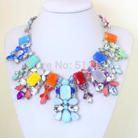 2014 Newest Women Statement Necklace Brand Z Vintage Jewelry Flower Bib Multicolor Fashion Necklaces & PendantsWomen KK-SC630