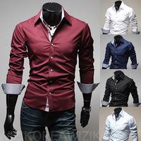 2014 Fashion Casual Men Long-sleeve Shirt Shirts For Men,5 colors M/L/XL/XXL/