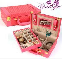 Fashion Portable Jewelry Box Leather Jewelry Accessories Box Plate Storage Box Display Boxes Princess Dressing Birthday Gift Bag