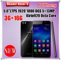Huawei Honor 6 4G FDD LTE Phone 5 ''1920*1080 Octa Core Kirin 920 3GB RAM 13.0MP Android 4.4