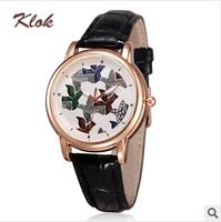 KLOK brands, fashion leather waterproof watches, casual watches women ,women dress watches