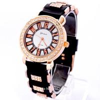 2014 New Fashion Brand Geneva Silicone Quartz Watch Women Casual Watch Gold Dial Rhinestone Sports Watches Relogio Feminino