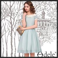 2014 Summer embroidery dresses women's short sleeves chiffon dress LA11347X
