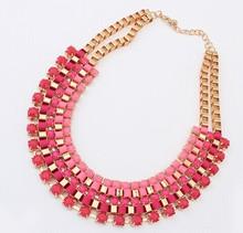 Pink bijou statement bib necklace/k pop blue fine cheap costume jewelry women/max colares/collier/maxi colar/jewellery/nacklace