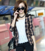 2014 new arrival autumn women blazers Lace plaid slim small lady coat Korean style female clothes free shipping