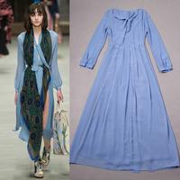 New Arrival 2014 Long Sleeve High split  Silk Long Dress 140806HU01
