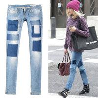 2014 new DSQ Brand  spring cool low-waist light color hole applique fashion jeans