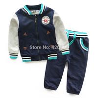 Male child sports set color block decoration children's clothing 2014 autumn child cardigan baby trousers