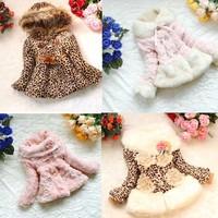 New Girls Leopard faux fur coat Autum /Winter Clothes Kids Toddler children's lace Sweet flower outerwear jacket  Warm coat