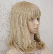 2014 Nova Alta Qualidade Harajuku Loiro Wigs Jovem cabelo longo encaracolado Padding cabelo sintético peruca / Perucas Cosplay Para Anime japonês(China (Mainland))
