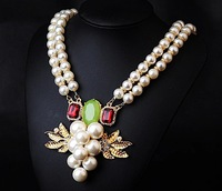 New Arrival Simulate Pearl Chain 2 Layers Women Wedding Grape Shaped Pendant Fashion Necklace.Wholesale Gold Plated Jewelry