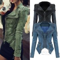 Women Denim Jackets 2014 Autumn & Winter Short Denim Jeans Jacket Zipper Rivet  Long Sleeve Outerwear Coat For Women 3 Colors