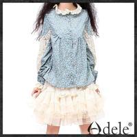 Wholsale 2014 Autumn Women's vintage lace patchwork print loose blouse shirt