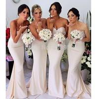 Wholesale Sweetheart Strapless Sleeveless Ivory Chiffon Long Mermaid Bridesmaid Dresses 2014 Custom Made Maid of Honor Dresss