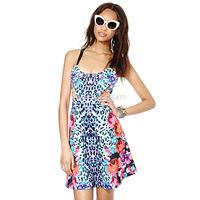 Hot sale Symmetrical leopard print rose women sexy dress sleeveless spaghetti strap summer dress fashion cute v-neck Lady  dress