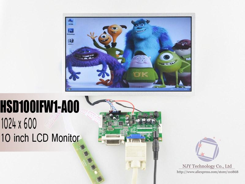 "Free Shipping R.RM5251 DVI+VGA Controller Board+10.1"" TFT LCD Screen Panel HSD100IFW1-A00 Easy DIY 10 inch LCD Display Monitor(China (Mainland))"