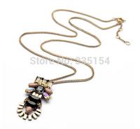 2014 Women Vintage Pendant Long Chain Necklace Crystal Pendant Long Chain Necklace 7pcs/lot FREE SHIPPING