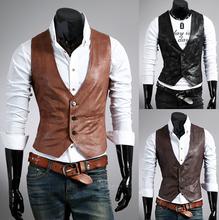Tuoyi 2014 Men Fashion PU Leather Vest Men Slim Fit Waistcoat Brown & Black (China (Mainland))
