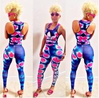 2014 Newest Fashion Rompers Womens Jumpsuit Sexy Print Jumpsuit Club Bodysuits Elegant Sleeveless Bandage Jumpsuits Brand New