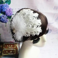 Curly hair accessories feathers rhinestone wedding bride flower show headwear feathers white red