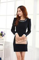 2014 Slim stylish long-sleeved big yards stretch Lycra dress