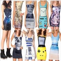 Free shipping fashion new women 3D print vest dress digital print sexy dress bodycon lady casual high quality dress