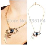 2014 Women Crystal Eye Shpe Spike Necklace Women Chokers Necklace 13pcs/lot FREE SHIPPING