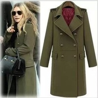 Slim women overcoat ladies brand winter warm jacket Thick Turn-down Collar Double Breasted Woolen Blends long coat female(00086)