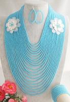 Fashion Nigerian Wedding African Beads Jewelry set Blue Crystal Necklace Bracelet Earrings Jewelry Set Z-1987